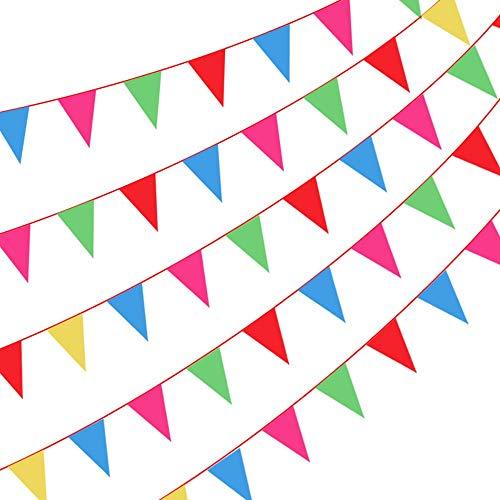 Cojoy 50M rot Runde Seil Wimpelkette, Nylon Stoff Wimpel mit 100 Stück Dreieck Flaggen, Mehrfarbig Flag Banner für Outdoor Indoor Aktivität, Geburtstag, Hochzeit, Babydusche Party Dekoration