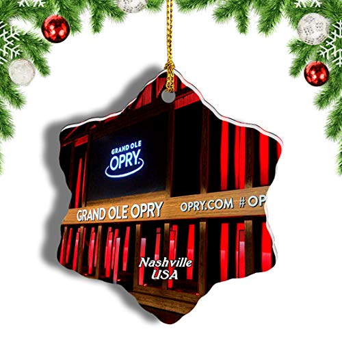 Weekino USA America Grand Ole Opry Nashville Christmas Ornament Travel Souvenir Tree Hanging Pendant Decoration Porcelain 718' Double Sided