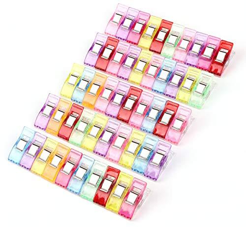 Nähen Clips Set 50zum Nähen, Quilten, Binden, Basteln, Häkeln und Stricken,Wonderclips für Einband Couture Handwerk,Bürobedarf(Mehrfarbig)