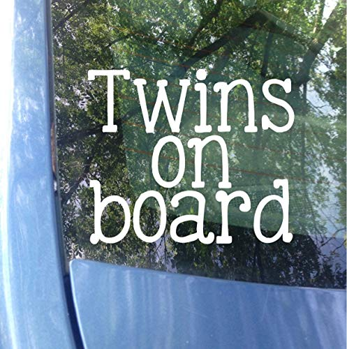 Yilooom Twins on Board Window Decal   Car Decal   New Baby Baby on Board Sticker   Twins   Twin Baby Gift   Twinning   Safety 10 inches - 2 Packs