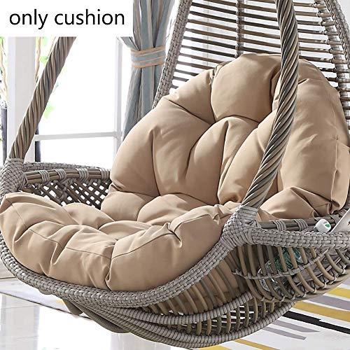 Wyjw stoelkussen van polyrotan om op te hangen, voor schommelstoel, zacht, antislip, zonder houder, voor balkon, binnen/tuin, 120 x 86 x 15 cm