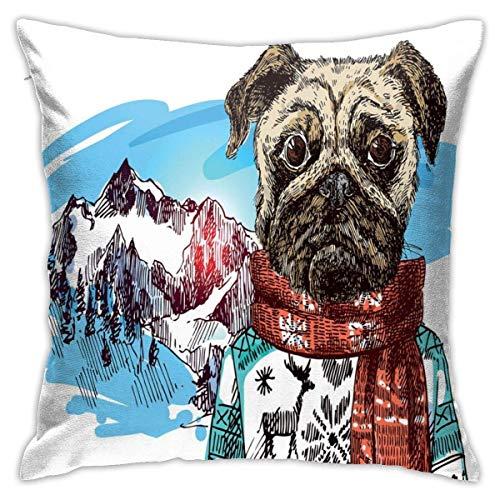 Modernes Kissen Kissenbezug, Hund im Sketch-Stil mit Winterkleidung Schal Pullover Berge Hintergrund Himmel Bild, dekorative quadratische Akzent Kissenbezug, 18'x 18'