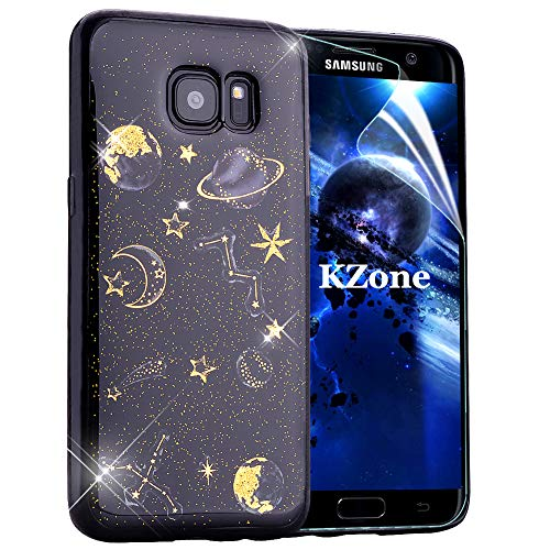 OKZone Coque Samsung Galaxy S7 Edge, Mince Étui en Silicone Souple Brillante Bling Bling Glitter de Luxe,Flexible Plein-Corps TPU Bumper Housse Etui de Protection pour Samsung Galaxy S7 Edge