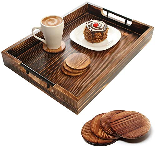 Amarezo Ottoman Tray with 4 Coasters - 20 Inch x 14 Inch Serving Tray, Charcuterie, Cheese - Platter for Breakfast in Bed, Eating in Living Room - Fir Wood & Black Metal Handle