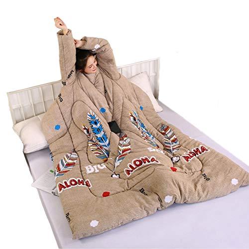 Blankets Quilt Paresseux avec des couvertures à Manches Couette de Couette de lit Confortable Chaud Chaud d'hiver Confortable met la Housse de Couette,F