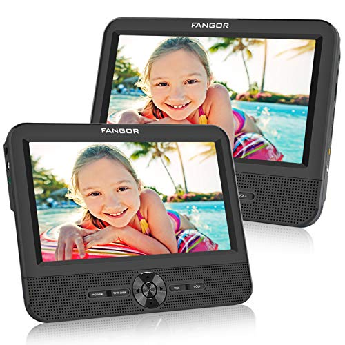 Best Review Of FANGOR 7.5 Dual Screen DVD Player for Car Portable CD Players with 5 Hours Rechargebl...