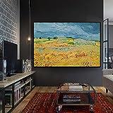 BailongXiao Campo de Trigo escandinavo Abstracto Pintura al óleo réplica Mural Mural en la Sala de Estar,Pintura sin Marco,60x80cm