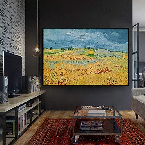 KWzEQ Abstraktes Ölgemäldeplakatwandbild des skandinavischen Weizenfeldes im Wohnzimmer,Rahmenlose Malerei,60x80cm