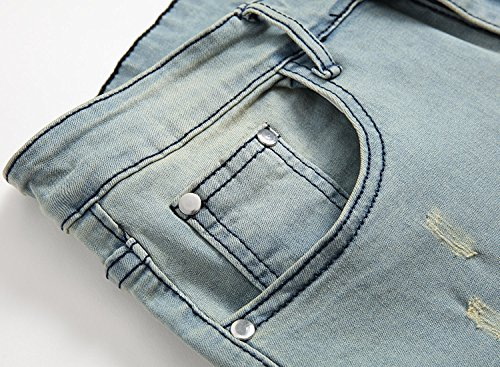 YTD Men's Zipper Biker Jeans Ripped Distressed Slit Denim Slim Stretch Moto Pants (US 28, Blue)