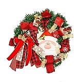 BUANFUA Corona de flores de Navidad de 38 cm con corona de festival para puerta delantera, boda, pared, decoración del hogar