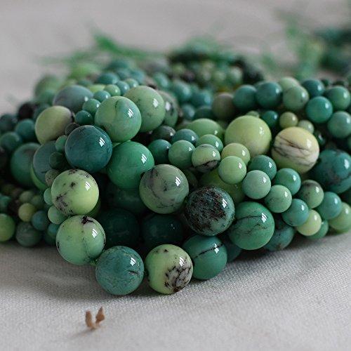 Haute qualité Grade A Naturel Vert mousse Opale Pierre précieuse de pierres semi-précieuses Perles rondes – 4 mm, 6 mm, 10 mm Tailles – 39,4 cm Strand, approx 10mm (39-42 beads)