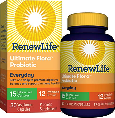 Renew Life Adult Probiotic - Ultimate Flora Everyday Probiotic Supplement for Men & Women - Shelf Stable, Gluten, Dairy & Soy Free - 15 Billion CFU - 30 Vegetarian Capsules