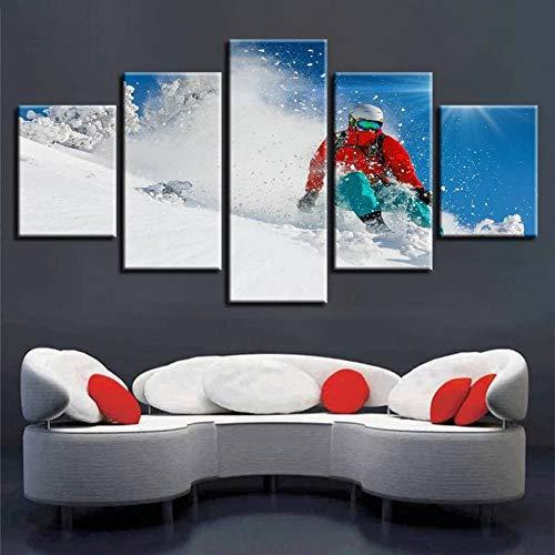 KQURNXSL snowboard schilderkunst, 5 stuks snowboard canvasdruk, Berg muurkunst, sneeuw canvas gedrukt schilderij
