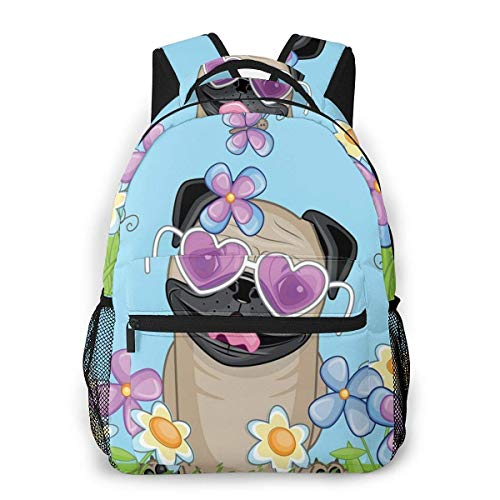 Lawenp Mochilas Escolares Adorable Puppy On The Field Flores Mariposas Nubes en Forma de corazón Cielo Abierto para niñas Adolescentes y niños Mochilas para Estudiantes de 16 Pulgadas Mochila Inform