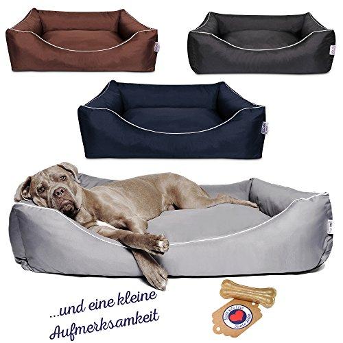 Tante Hilde Hundebett, Hundekorb, Hundekissen Norderney für kleine, mittlere und große Hunde, Waschbar, Robust, Größenauswahl, Hochwertige Qualität! (XL 80 x 60 cm, Schwarz)