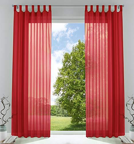 2er-Pack Gardinen Transparent Vorhang Set Wohnzimmer Voile Schlaufenschal mit Bleibandabschluß HxB 245x140 cm Rot, 61000CN