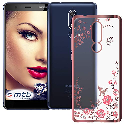 mtb more energy® Custodia Bloomy per Nokia 5.1 (5.5'') - Oro Rosa - Flessibile - TPU Silicone Case Cover