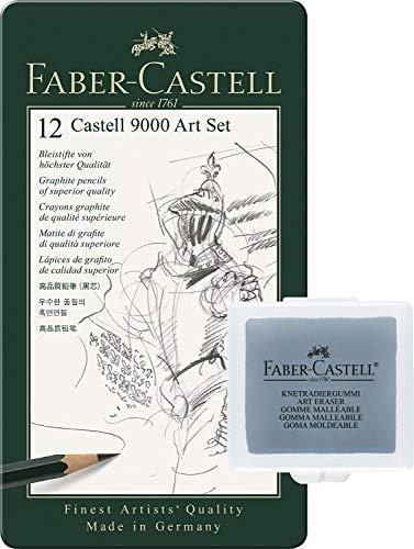 Faber-Castell 119065 - Bleistift Castell 9000, 12er Art Set + Art Eraser Knetgummi
