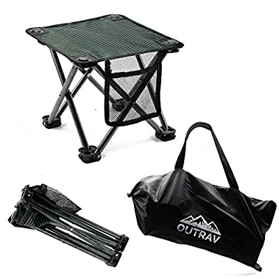 Outrav Camping Stool - Outdoor Travel Folding Small Chair - Portable Stool for Camping, Fishing, Hiking, Gardening, Beach - Heavy Duty, Lightweight Easy to Carry Camping Seat with Carry Bag