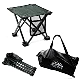 Outrav Camping Stool - Outdoor Travel Folding Small Chair - Portable Stool for Camping, Fishing, Hiking, Gardening, Beach - Heavy Duty, Lightweight Easy to Carry Camping Seat with Carry Bag (Black)