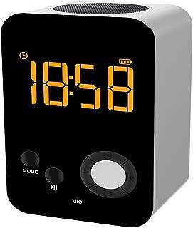 WLKJ Alarma Reloj Altavoz Cargador/Bluetooth/con Voz, Llamada de Mensaje de Voz, Reloj Alarma Personalizada, para los dormitorios, de Noche, Escritorio, Estante,Plata