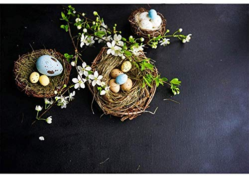 HD 10x7ft Vinyl Easter Background Spring Backdrop Easter Eggs Bird s Nest Twigs White Flowers Black Background for Party Easter Decoration Photo Studio Photography Props