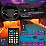 Kundorf LED car interior lighting, 12V, 4 piezas luces led coche interior RGB 48 LED car LED strips, multi-color controlable music app tira led coche con encendedor de cigarrillos y control remoto