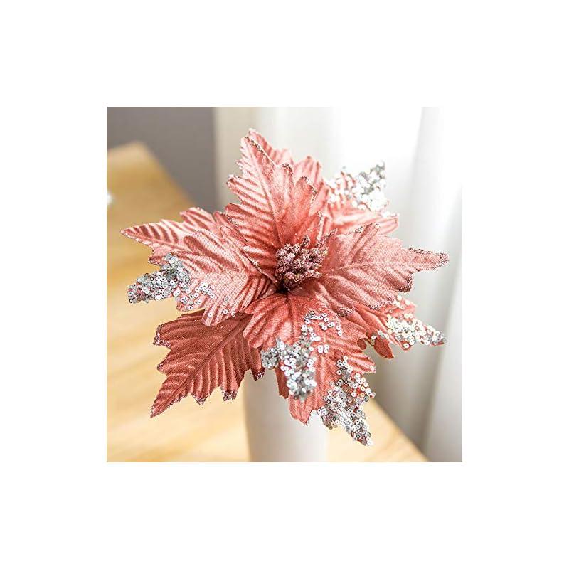 silk flower arrangements worldoor large christmas poinsettia 6pcs artificial flower picks spray for christmas tree decoration wreath garland (pink)