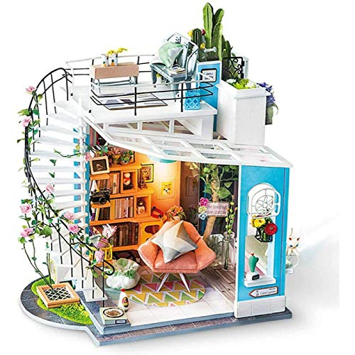 ZHANG Casa de Muñecas de Madera en Miniatura de Bricolaje, Kit de Casa de Muñecas DIY Más Movimiento Musical y a Prueba de Polvo, Sala Creativa a Escala 1:24, Regalo para Niña