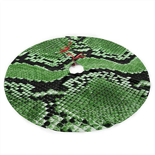 Surwoaly Christmas Tree Skirt 36 inch,Green Snakeskin Tree Skirt Mat Christmas Holiday Party Indoor Outdoor Home Xmas Party Decoration
