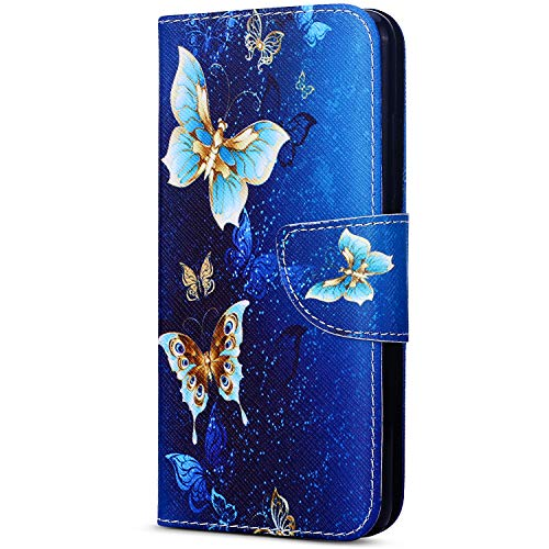 EUWLY Kompatibel mit Huawei Y7 2018 Handyhülle Bunt Leder Hülle Brieftasche Ledertasche Book Hülle Klapphülle Handytasche Flip Hülle Cover,Schmetterling Golden