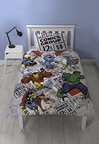 Marvel Comics Retro Single Duvet Cover Set, Polyester-Cotton