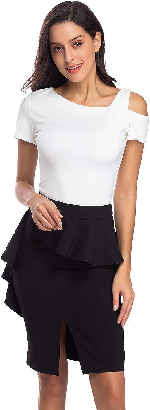 Sweet Bei J Camiseta de mujer con hombros descubiertos, de un solo color, con diseño de hombros descubiertos