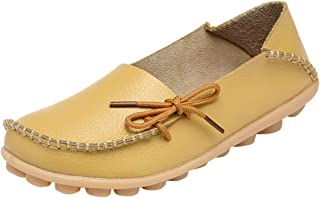 Women Soft Loafers Shoes,Female Lace-up Leather Natural Comfort Walking Flat Shoes Casual Moccasin Driving Shoes