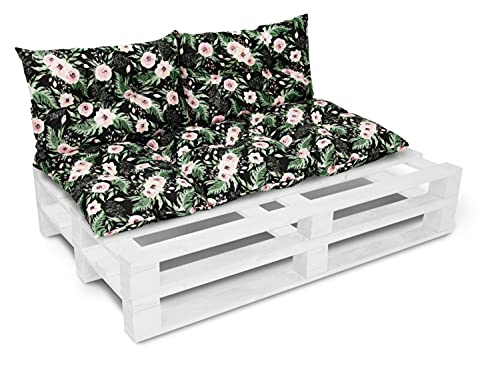 Cojín para banco de jardín, cojín para silla, cojín de respaldo, cojín de asiento para banco de jardín, palés, 60 x 120 cm + 2 x 40 x 60 cm, color rosa y negro