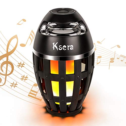 Ksera Flame Lamp Speaker,Music Flame Atmosphere Table Lamp, Portable Bluetooth Stereo Bass Wireless Speaker, LED Flickers Warm Night Lights for Indoor/Outdoor,Bluetooth 4.2 for iPhone iPad Android