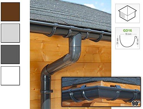 Dachrinnen/Regenrinnen Set | viereckiges Dach (4 Seiten) | GD16 | in anthrazit, weiß, braun oder grau! (Umriss bis 17.50 m (Kompl. Set), Anthrazit)