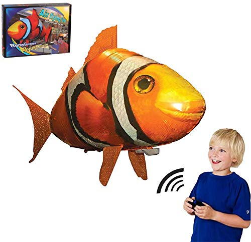 Remote Air Swimmers Fish Controlled Flying Shark Gift Christmas for Kids Or Clownfish Flies Through The Room for Kids DIY Inflatable Balloon Toy