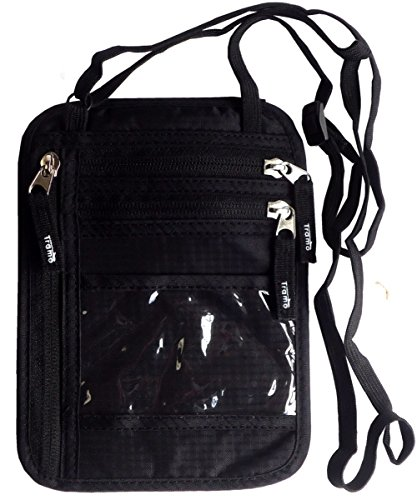 Tramo パスポートケース 首下げ スキミング防止 ネックポーチ 海外旅行 便利 貴重品入れ (ブラック)