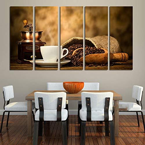 WZMFBH Kunstwerke Dekor Wohnzimmer Wandrahmen 5 Stück Kaffeebohne und Tasse Maschine Bild Kunst Poster Modulare Gemälde Leinwand HD-Drucke