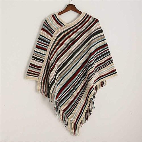VIGCK Damen Poncho Capes Schal Fashion Striped Winter Warm Cashmere Schals Coat Lady Weiche Wolle Quaste Pashmina Schals
