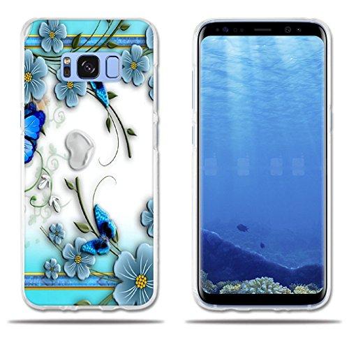 fubaoda Funda Samsung Galaxy S8 Hermoso Dibujo en Relieve de Mariposas, Flexible Funda Protectora Anti-Golpes para Samsung Galaxy S8