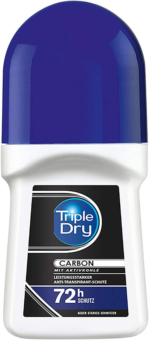 Triple Dry Carbon Antiperspirant Roll-On, Deodorant Against Heavy Sweating, Deodorant with Activated Carbon for 72 Hour Safe Protection, Antibacterial Antiperspirant, 50 ml