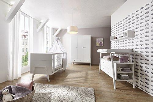 Schardt 11 915 02 02 Chambre d'enfant 3 – Pièces Holly White comprenant Kombi – Lit d'enfant 70 x 140 cm