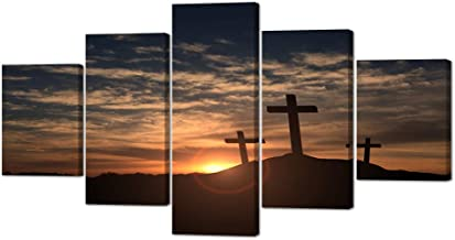 VIIVEI Christian Crosses Cross Wall Art Christ Poster Canvas Prints Art Home Decor for Living Room Modern Pictures 5 Panel Large HD Printed Painting Artwork Framed Ready to Hang (60