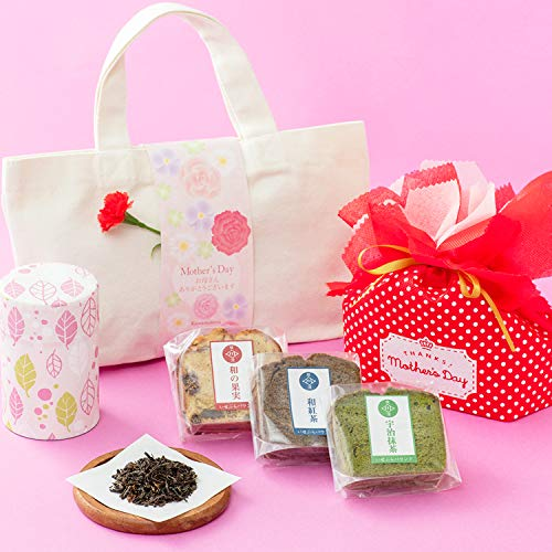 母の日ギフト 紅茶 パウンドケーキ3個 トートバッグ ギフトセット国産紅茶 和紅茶 洋菓子 母の日ギフト 川本屋茶舗