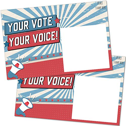 """100 Bulk Voter Postcards 4x6"""" - Your Vote Your Voice, Red, White and Blue Theme With Blank Back for Message to Voters - Encourage Voting In Your State"""