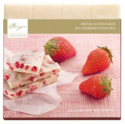 Bio Weisse Schokolade mit Erdbeerstückchen, 90 g