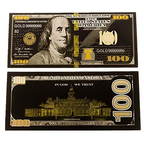 blinkee Gold Black Plated 100 Dollar Bill 24K Replica Paper Money Currency Banknote Art