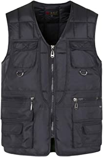 Mens Quilted Bodywarmer Gilet with Multi Pocket Padded Sleeveless Vest